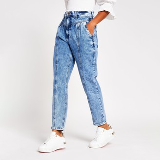River Island Womens Petite Blue Carrie high rise Mom jeans