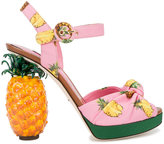 Dolce & Gabbana pineapple print platform sandals - women - Cotton/Leather - 39