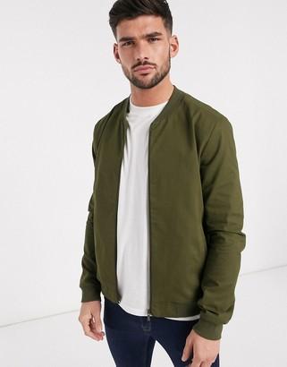 New Look lightweight cotton bomber jacket in khaki