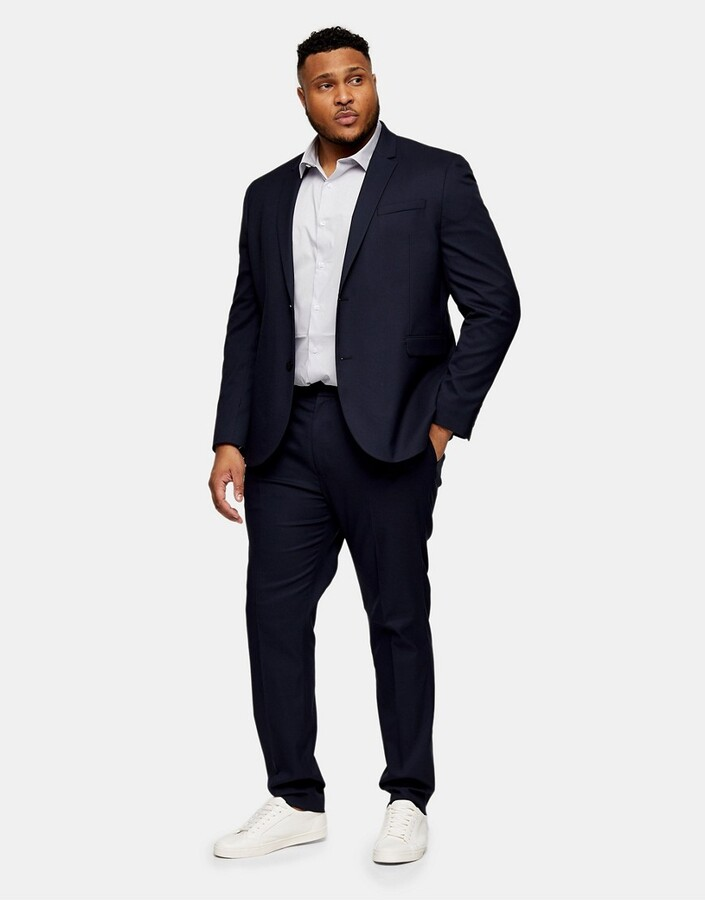 Thumbnail for your product : Topman Big & Tall textured skinny fit suit trousers in navy
