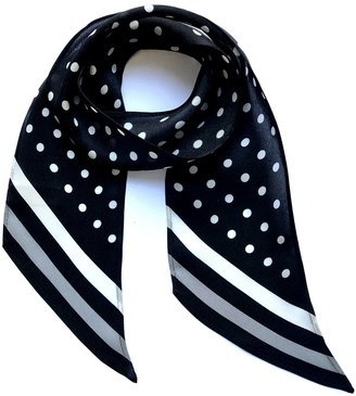 Ingmarson Polka Dot Silk Neck Scarf Black