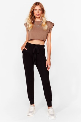 Nasty Gal Womens Don't Let 'Em Bow Relaxed Joggers - Black - S