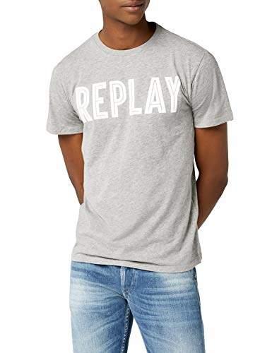 Replay Men's Kurzarm Shirt T (Grey Melange M02)