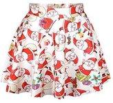 Cfanny Women's Holiday Christmas Santa Xmas Print Mini Flared Tutu Skirt,White