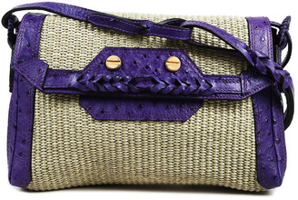 Balenciaga Natural & Aubergine Raffia & Ostrich Leather Boxwood Shoulder Bag, Never Carried