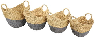 CosmoLiving by Cosmopolitan Oval Dip-Dyed Water Hyacinth Wicker Storage Baskets with Round Handles - Set of 4