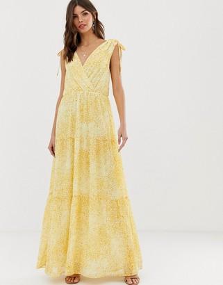 Vila floral wrap maxi dress