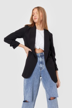 Nasty Gal Womens Ruche Hour Relaxed Blazer - Black - 4, Black