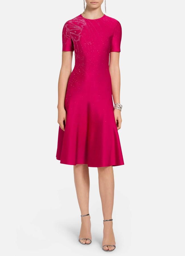 St. John Liquid Milano Knit Fit and Flare Dress