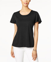 Karen Scott Braided-Neck Flutter-Sleeve Top, Created for Macy's
