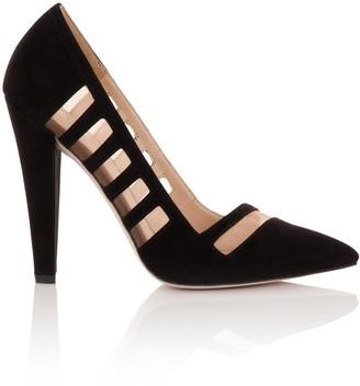 Paper Dolls Footwear Black Mesh Insert Court Heels