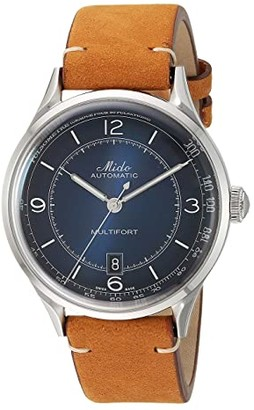 MIDO Multifort Patrimony Stainless Steel Case and Tan Leather Strap - M0404071604000 (Blue) Watches