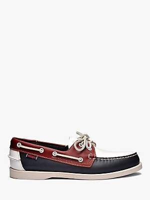 Sebago Portland Spinnaker Leather Boat Shoes, Navy/Red/White