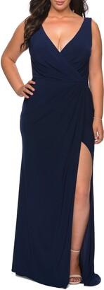 La Femme Slit Jersey Gown