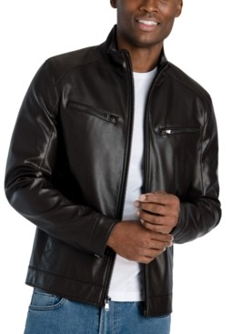 Michael Kors Men's Perforated Faux Leather Hipster Jacket, Created for Macy's