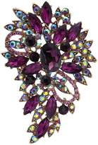 Ever Faith Flower Tear Drop Brooch Pendant Garnet Color January Birthstone A02600-3