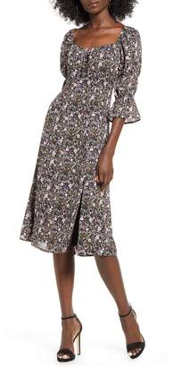 Rowa Row A Square Neck Floral Dress