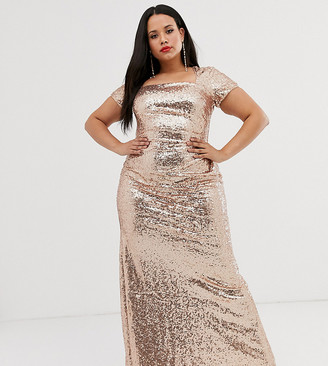 City Goddess Plus sequin maxi dress
