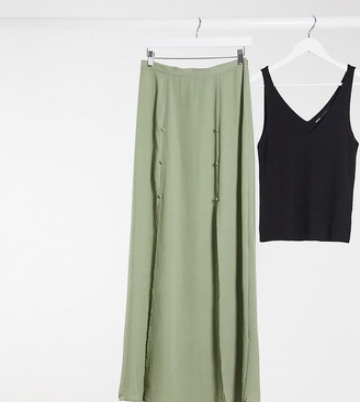 Asos Tall ASOS DESIGN Tall double split maxi skirt in khaki