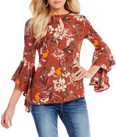 Miss Me Floral-Print Bell Sleeve Peasant Top