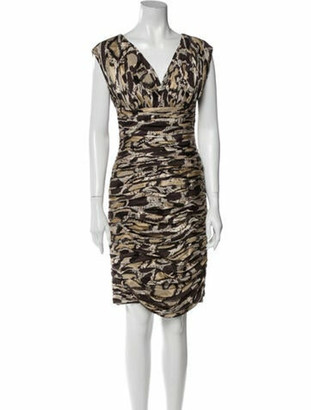 Naeem Khan Silk Knee-Length Dress Brown