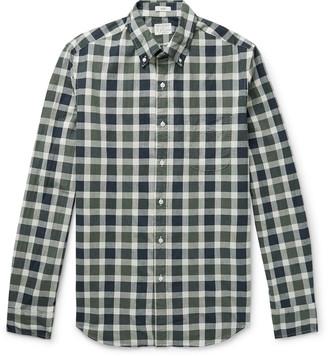J.Crew Secret Wash Button-Down Collar Gingham Stretch-Organic Cotton Shirt