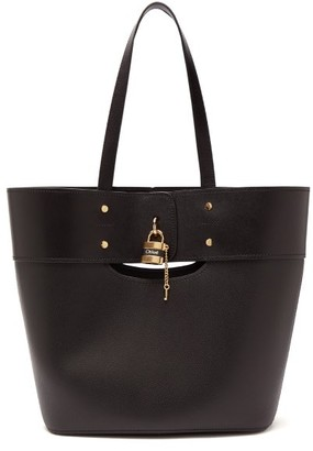 Chloé Aby Large Smooth And Grained-leather Tote - Black