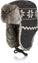 Crown Cap Men's Fur-Trimmed Wool Trapper Hat