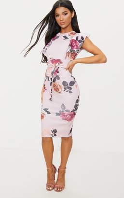 PrettyLittleThing Dusty Pink Floral Print Frill Detail Midi Dress