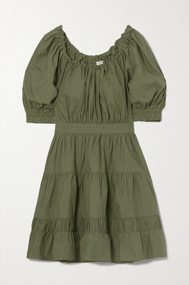 Ulla Johnson Celia Tiered Gathered Cotton-poplin Mini Dress - Green