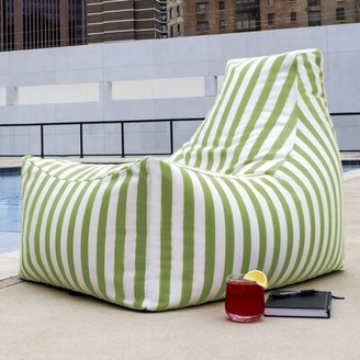 Ebern Designs Standard Outdoor Friendly Bean Bag Chair & Lounger Upholstery: Lime Stripe