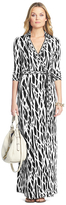 miranda kerr  Who made Miranda Kerrs black and white print wrap maxi dress?
