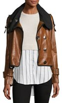 Veronica Beard Lafayette Shawl-Collar Snap-Front Leather Jacket