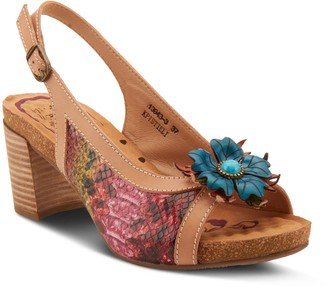 Spring Step L'Artiste By Leather Floral Sandals- Kristieli