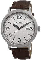 August Steiner Men's Classy Quartz Watch with Grey Dial and Brown Canvas Strap AS8088BR