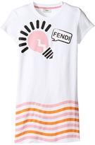 Fendi Short Sleeve Logo Light Bulb Graphic T-Shirt Girl's T Shirt