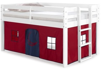 Alaterre Jasper Twin Junior Loft Bed, White Frame and Blue/Red Playhouse Tent