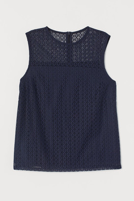 H&M Sleeveless Lace Blouse - Blue
