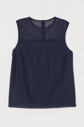 H&M Sleeveless Lace Blouse - Blue
