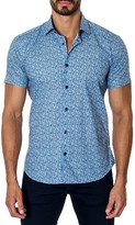 Jared Lang Men's Trim Fit Floral Print Sport Shirt
