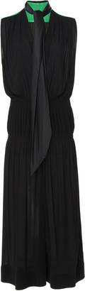 Givenchy Two-Tone Tie-Detailed Georgette Midi Dress