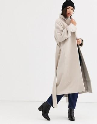 Weekday Vivi tie waist coat in dusty beige-White