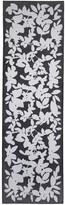 St. John Abstract Black & White Floral Print Silk Georgette Scarf