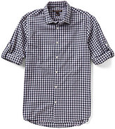 Michael Kors Shane Roll-Sleeve Check Slim-Fit Long-Sleeve Woven Shirt