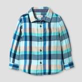 Cat & Jack Toddler Boys' Plaid Button Down Shirt Cat & Jack - Blue