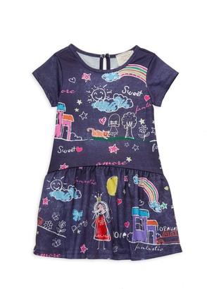 Hannah Banana Little Girl's Dropped-Waist Denim Printed Dress