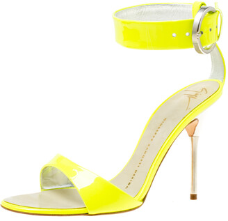 Giuseppe Zanotti Fluorescent Green Patent Leather Ankle Strap Open Toe Sandals Size 36