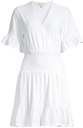 MICHAEL Michael Kors Eyelet Smocked Mini Dress