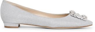 Manolo Blahnik Hangisi flat silver glitter ballerinas
