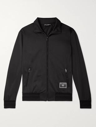 Dolce & Gabbana Slim-Fit Logo-Appliqued Satin-Jersey Track Jacket - Men - Black
